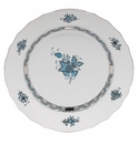 """Herend Chinese Bouquet Turquoise & Platinum Dinner Plate 10.5""""D"""