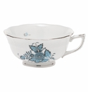 Herend Chinese Bouquet Turquoise & Platinum Tea Cup (8 Oz)