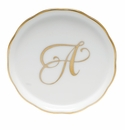 "Herend  Coaster With Monogram -A- 4""D"
