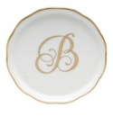 "Herend  Coaster With Monogram -B- 4""D"