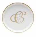 "Herend  Coaster With Monogram -C- 4""D"
