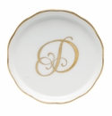 "Herend  Coaster With Monogram -D- 4""D"
