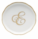 "Herend  Coaster With Monogram -E- 4""D"