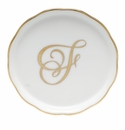 "Herend  Coaster With Monogram -F- 4""D"
