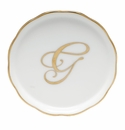 "Herend  Coaster With Monogram -G- 4""D"