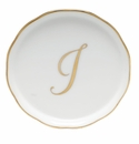 "Herend  Coaster With Monogram -I- 4""D"