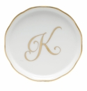 "Herend  Coaster With Monogram -K- 4""D"