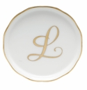 "Herend  Coaster With Monogram -L- 4""D"