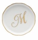 "Herend  Coaster With Monogram -M- 4""D"
