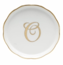 "Herend  Coaster With Monogram -O- 4""D"