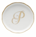 "Herend  Coaster With Monogram -P- 4""D"