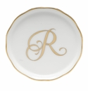 "Herend  Coaster With Monogram -R- 4""D"
