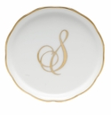 "Herend  Coaster With Monogram -S- 4""D"