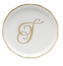 "Herend  Coaster With Monogram -T- 4""D"