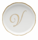 "Herend  Coaster With Monogram -V- 4""D"