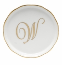 "Herend  Coaster With Monogram -W- 4""D"