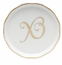 "Herend  Coaster With Monogram -X- 4""D"