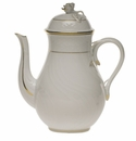 Herend Golden Edge Coffee Pot With Rose  (36 Oz) 8.5