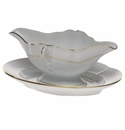 Herend Golden Edge Gravy Boat With Fixed Stand  0.75