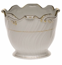 "Herend Golden Edge Ribbed Cachepot  6.25""H X 7""D"