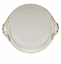 "Herend Golden Edge Round Tray With Handles  11.25""D"
