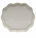 "Herend Golden Edge Scallop Tray  11.25""L X 9.5""W"