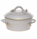 Herend Golden Edge Small Covered Vegetable Dish With Branch