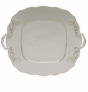 Herend Golden Edge Square Cake Plate With Handles  9