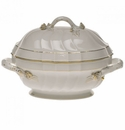 "Herend Golden Edge Tureen With Branch  (2 Qt) 9.5""H"