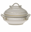 "Herend Golden Edge Tureen With Branch  (4 Qt) 10""H"