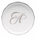 "Herend Platinum Edge Coaster With Monogram -A- 4""D"
