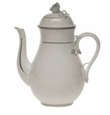 Herend Platinum Edge Coffee Pot With Rose  (36 Oz) 8.5