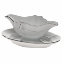 Herend Platinum Edge Gravy Boat With Fixed Stand  0.75