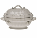"""Herend Platinum Edge Tureen With Branch  (2 Qt) 9.5""""H"""