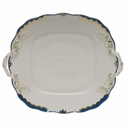 "Herend Princess Victoria Blue Square Cake Plate With Handles 9""."