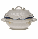 "Herend Princess Victoria Blue Tureen With Branch (2 Qt) 9.5""H"