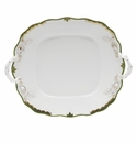 "Herend Princess Victoria Dark Green Square Cake Plate With Handles 9""."