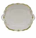"Herend Princess Victoria Green Square Cake Plate With Handles 9""."