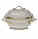 "Herend Princess Victoria Green Tureen With Branch (2 Qt) 9.5""H"