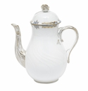 Herend Princess Victoria Light Blue Coffee Pot With Rose (36 Oz) 8.5""