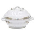"Herend Princess Victoria Light Blue Tureen With Branch (2 Qt) 9.5""H"
