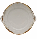 "Herend Princess Victoria Rust Chop Plate With Handles 12""D"