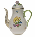 Herend Printemps Coffee Pot With Rose  (36 Oz) 8.5