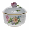 """Herend Printemps Covered Sugar With Rose  (4 Oz) 3.25"""""""