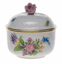 """Herend Printemps Covered Sugar With Rose  (6 Oz) 4""""H"""