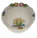 """Herend Printemps Openwork Basket With Flowers 4""""D"""