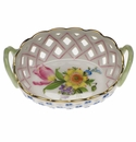 """Herend Printemps Small Openwork Basket With Handles 3.5"""""""
