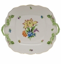 Herend Printemps Square Cake Plate With Handles  9