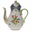 Herend Printemps With Blue Border Coffee Pot With Rose  (36 Oz) 8.5