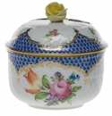 """Herend Printemps With Blue Border Covered Sugar With Rose  (6 Oz) 4""""H"""